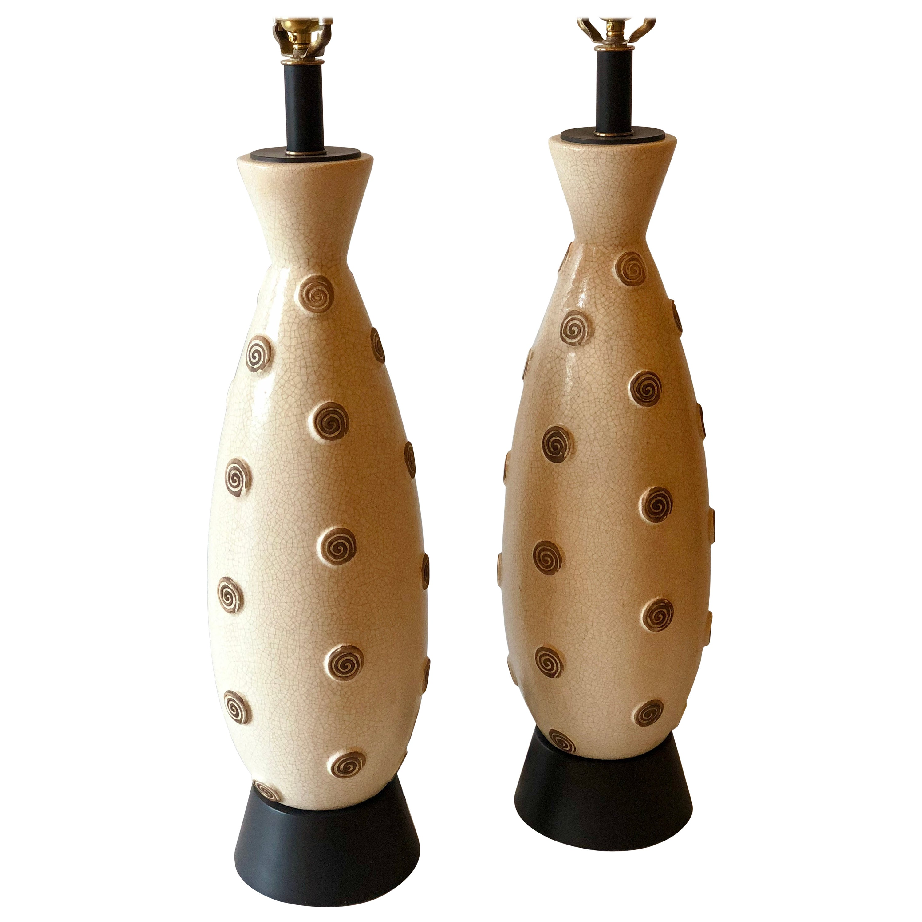 Pair of 1950s American Midcentury Tall Ceramic Table Lamps