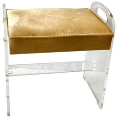 Postmodern Minimalist Lucite Upholstered with Handles Vanity Stool