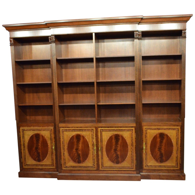 Large Mahogany Georgian Style Four-Door Bookcase by Leighton Hall For Sale