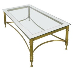 Coffee Table Maison Jansen Midcentury Mirror edge Glass and Gilt Brass Base