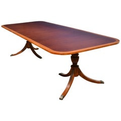 Banded Cathedral Mahogany Georgian Style Pedestal Dining Table by Leighton Hall