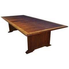 Traditional Mahogany Rectangular Pedestal Conference Table by Leighton Hall
