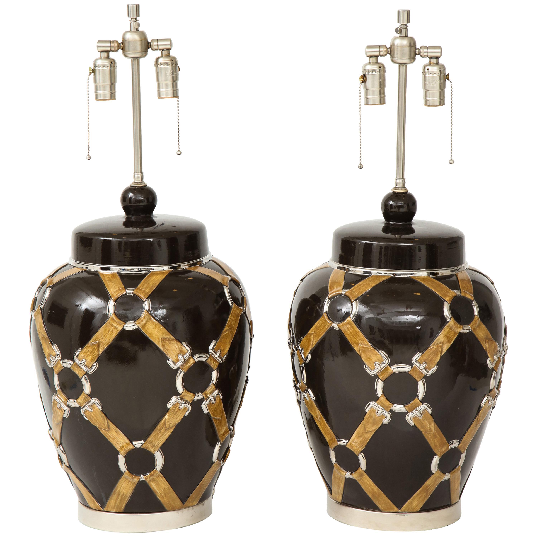 Chapman Buckle, Strap Brown Ceramic Lamps
