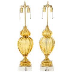 Marbro Amber Murano Glass Lamps