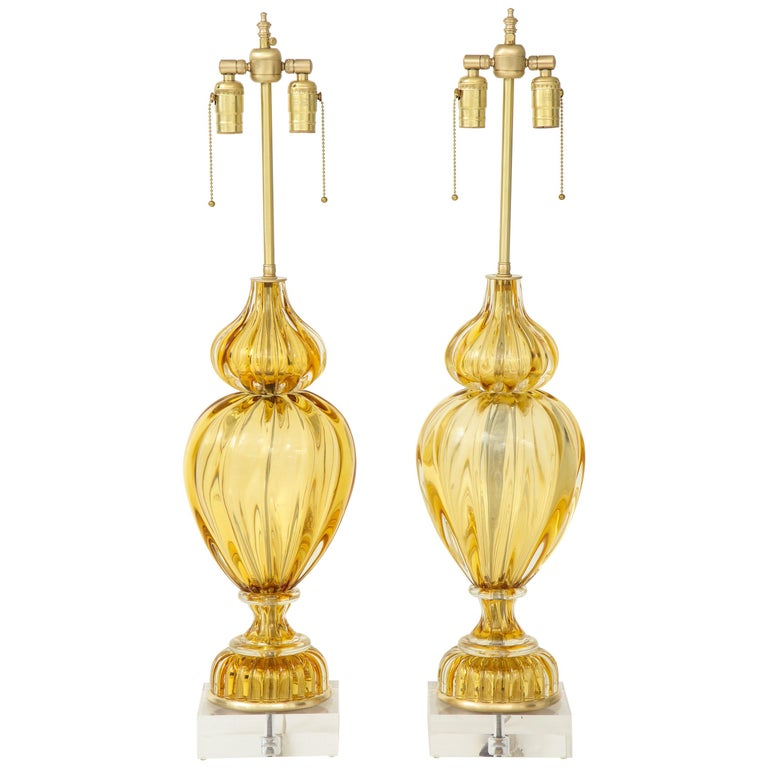 Marbro Amber Murano Glass Lamps For Sale