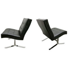 Pair of Leather and Steel Lounge Chairs by Mobilier International, France, 1970s