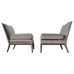 Pair of Vintage Mid-Century Modern Platinum Silver Gray Mohair Slipper Chairs