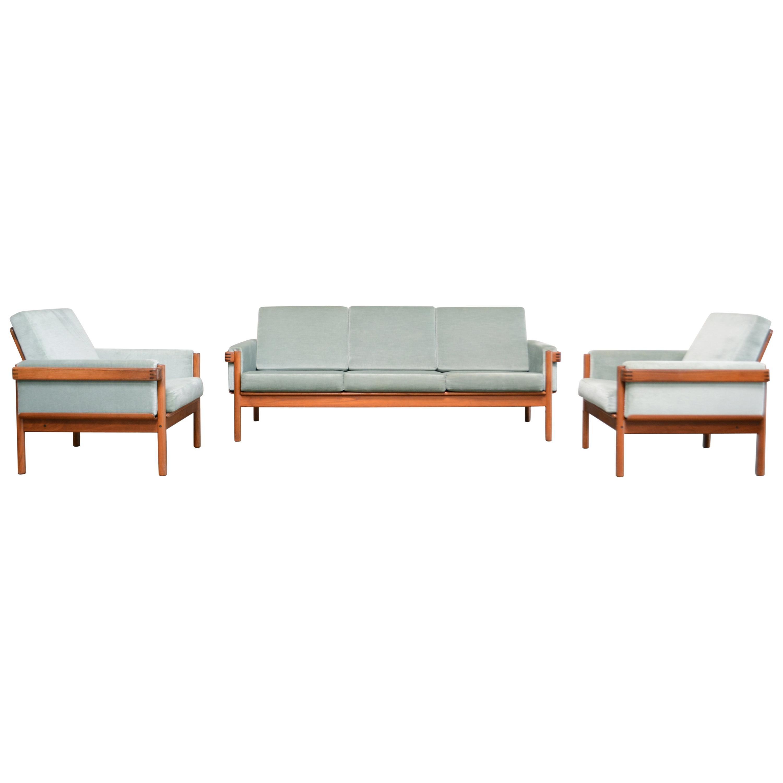 Henry Walter Klein Danish Modern Living Room Set Teak Sofa & 2 Chairs for Bramin