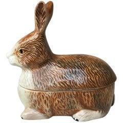 Majolica Pate Rabbit Tureen