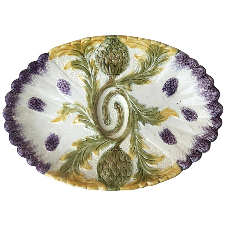 Majolica Asparagus Platter Orchies, circa 1880 For Sale