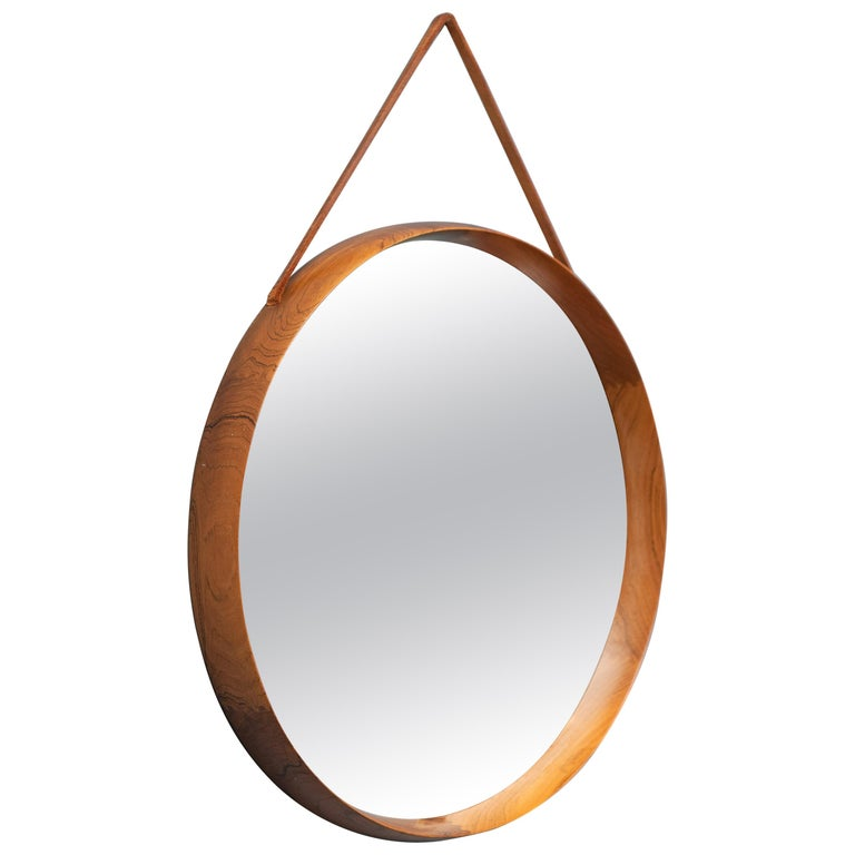 Uno & Östen Kristiansson Wall Mirror in Teak and Leather For Sale