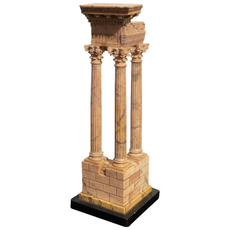 19th Grand Tour Yellow Marble Italian Model of Roman Classical Emperors Temple  For Sale