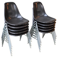Set 10 Ray & Charles Eames for Herman Miller DSS Gray Fiberglass Stacking Chairs
