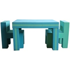 Memphis Children's Table and Chair Set Attributed to Michele de Lucci