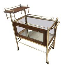 French Two-Tier Brass and Walnut Bar Cart, 1950s