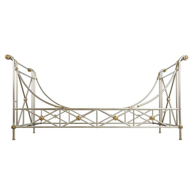 Maison Jansen Brass and Brushed Nickel Daybed, circa 1960s, Italy For Sale