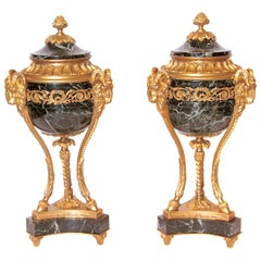 Pair of 19th Century French Louis XVI Marble and Gilt Bronze Urns