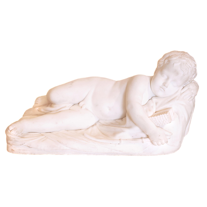 19th Century Italian Carrara Marble Cherub on a Pillow
