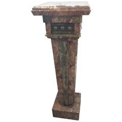 Aesthetic Movement Champlevé Enamel Inset Pedestal, Late 19th Century