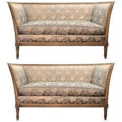 Paar von 19. Jahrhundert venezianischen geschnitzt und bemalt Sofas
