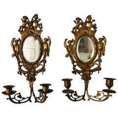 French 19th Century Pair of Gold-Leaf Mirrored Two-Light Sconces