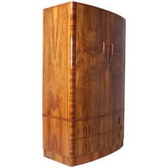 Art Deco Walnut Bow Front Wardrobe