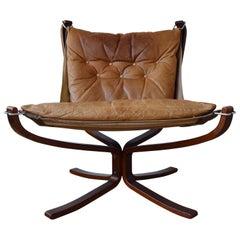 Cognac Falcon Chair by Sigurd Ressel for Vatne Møbler, 1970s
