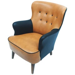 Theo Ruth, Amber and Black Colored Lounge Chair, for Artifort, 1950s