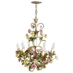 Italian Art Nouveau Ceiling Chandelier Painted Iron & Polychrome Ceramic Bassano