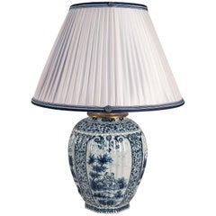 19th Century White and Blue Samson Faience Vase Converted in Table Lamp