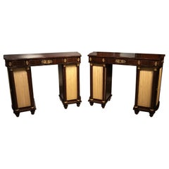 Pair of Brass Inlaid Regency Period Antique Side Cabinets
