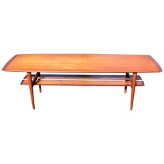 "HW Klein Teak Coffee Table ""Surfboard"" by Bramin Mobler, Denmark, 1960s"
