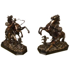 Pair of French Classical 19th Century Bronze Marley Horses after Coustou