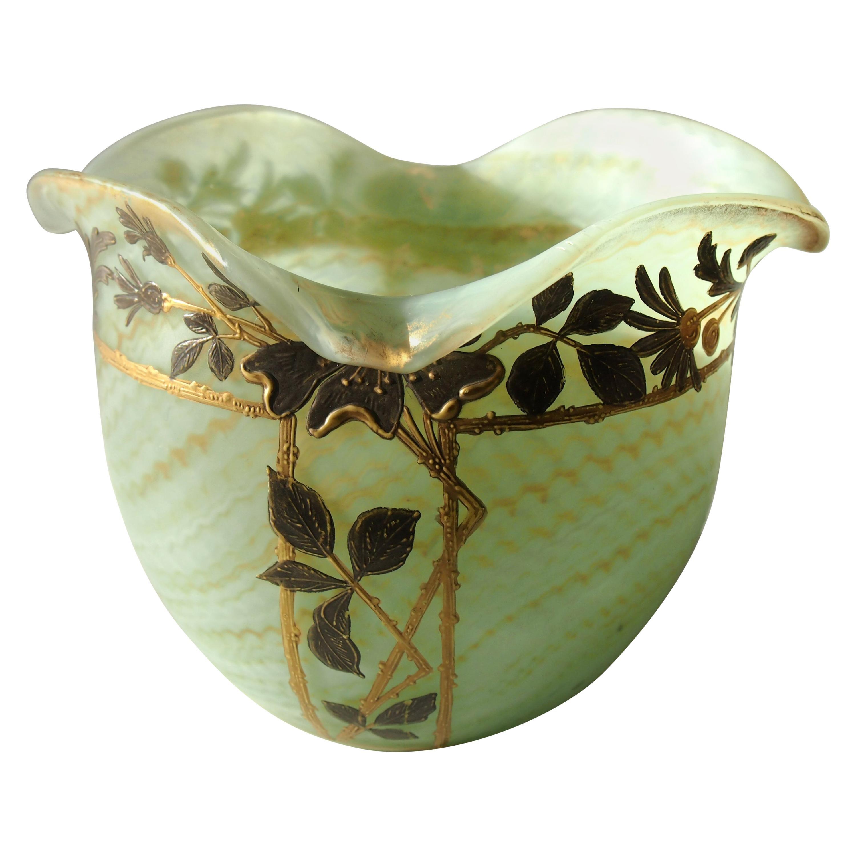 Bohemian Art Nouveau Harrach Glass Marbled Green Vase circa 1900 for A  Rub