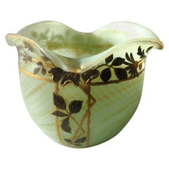 Bohemian Art Nouveau Harrach Glass Marbled Green Vase circa 1900 for A. Rub