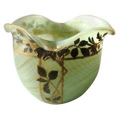 Böhmischen Jugendstil Harrach Glas marmoriert grüne Vase um 1900 für A. Rub