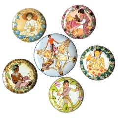 "6 Plates ""Children of the World"" Villeroy & Boch 1979 for Unicef, Germany SALE"
