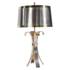 French Hollywood Regency Maison Charles Brass Corolle Lamp, 1970s