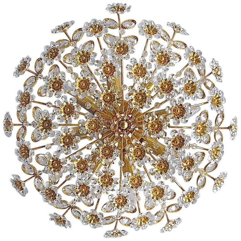 Large Palwa Flush Mount Chandelier Gilt Brass Flower Bouquet Crystal Glass 1960s For Sale
