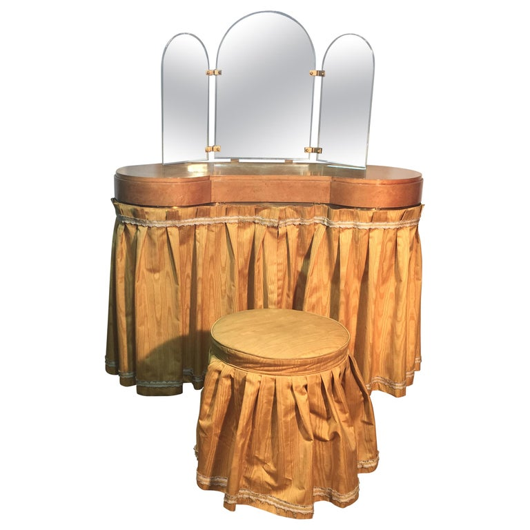 Original Vanitie and Its Art Deco Stool in Sycamore, circa 1940-1950 For Sale