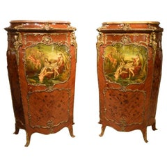 Fine Pair of Mahogany Ormolu Mounted French Serpentine Cabinets
