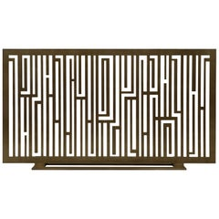 "Contemporary Handcrafted Fireplace Screen ""Rimbaud"" in Brass, 1stdibs New York"