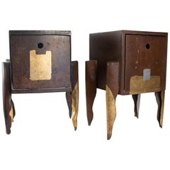 Pair of Table Bedside Artist Jean-Jacques Argueyrolles, 20th Century
