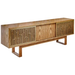 "Contemporary Handcrafted Buffet ""Esthesia"" with Brass Screens, 1stdibs New York"