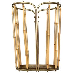 1950s Austrian Modernist Umbrella Stand Brass Bamboo, Josef Frank, Auböck Style