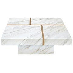 "Contemporary Handcrafted Table ""Baies"" in Marble-Brass Pattern, 1stdibs New York"