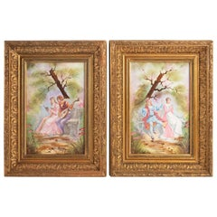Pair of Paintings on Porcelain, Gallant Scene, 1900, Framed with Frames Napoleon
