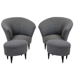 Pair of Parisi Armchairs and Matching Foot Stools
