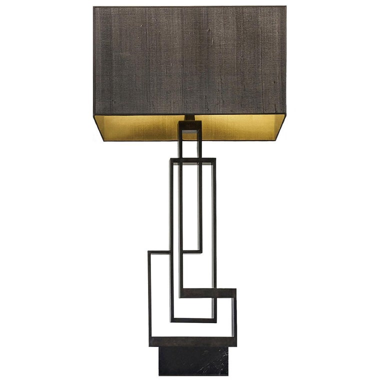 """Contemporary Handcrafted Table Lamp """"Ilios"""" in Brass and Marble 1stdibs New York For Sale"""