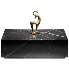 "Contemporary Handcrafted Box ""Elaphos"" in Marble, Brass Handle, 1stdibs New York"
